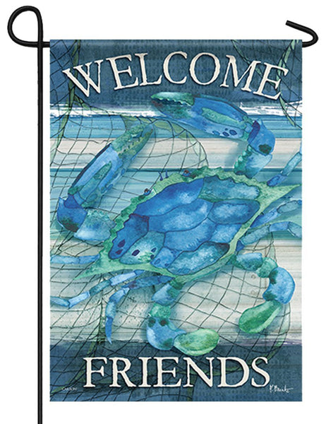 Blue Crab Welcome Friends Home Garden Flag