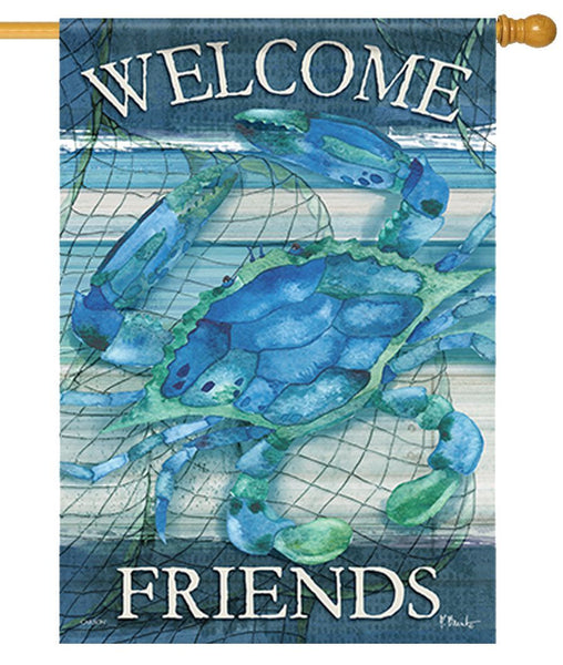Blue Crab Welcome Friends Home House Flag - All Decorative Flags/Themes/Coastal Nautical Beach Flags - I AmEricas Flags