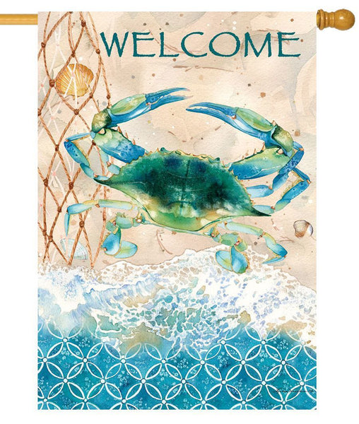 Blue Crab Welcome House Flag - All Decorative Flags/Themes/Coastal Nautical Beach Flags - I AmEricas Flags