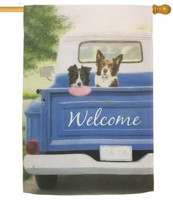 Blue Pickup and Pups Sublimated House Flag
