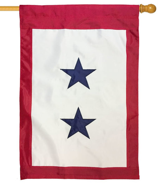 Blue Service Two Star Applique  House Flag
