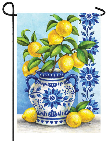 Blue Willow and Lemons Garden Flag