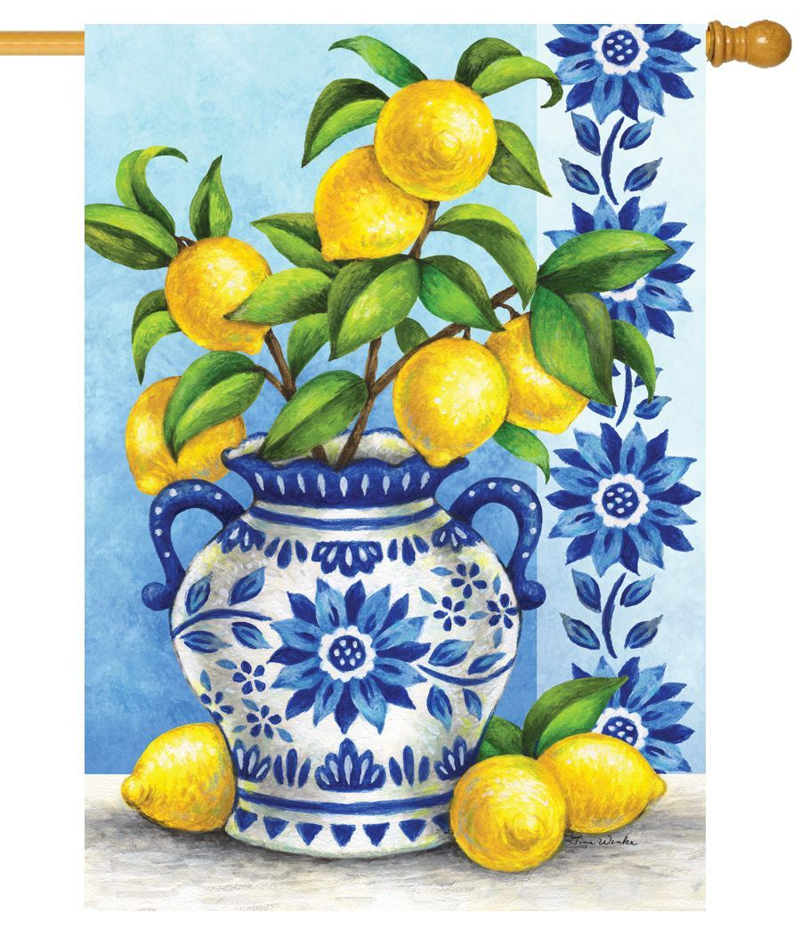 Blue Willow and Lemons House Flag