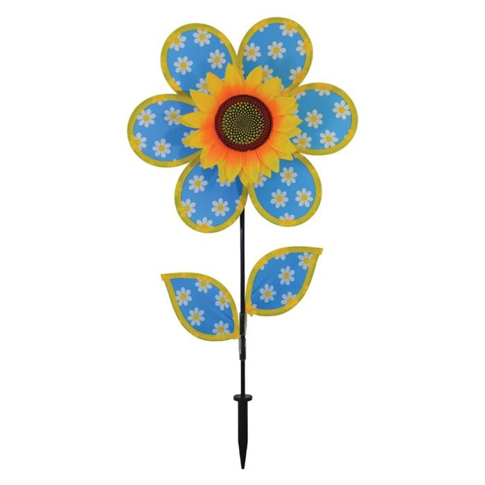 Blue and White Daisy Sunflower Wind Spinner - I AmEricas Flags