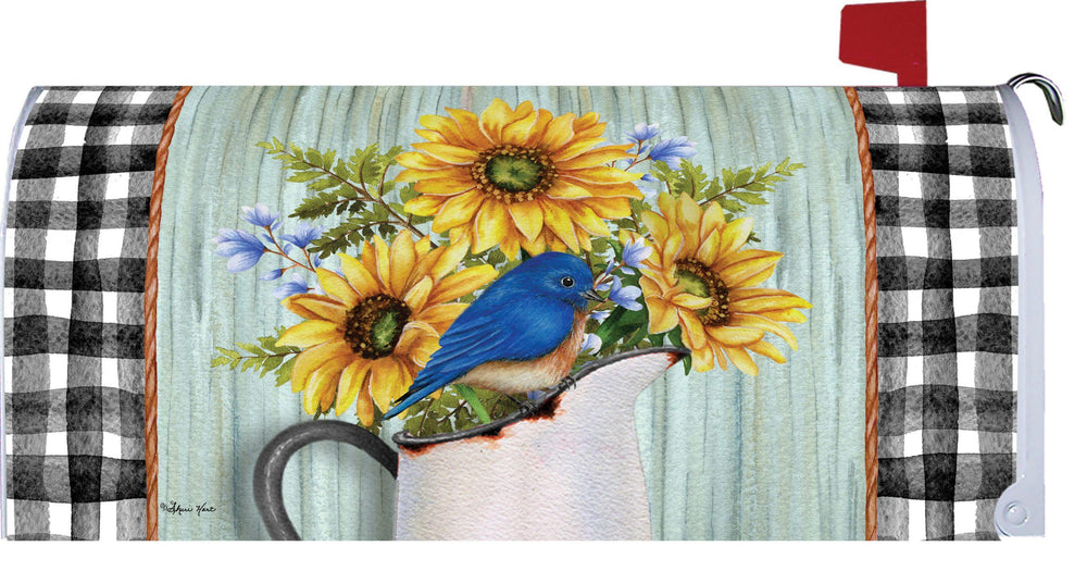 Bluebird and Sunflowers Mailbox Cover