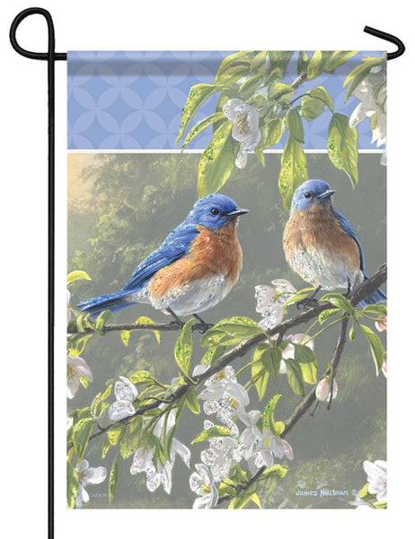 Bluebird Misty Morning Glitter Garden Flag
