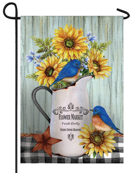 Bluebirds and Sunflowers Garden Flag