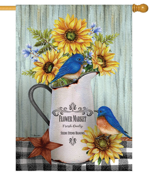 Bluebirds and Sunflowers House Flag