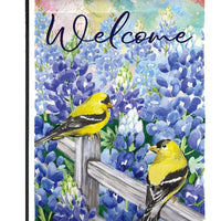 Bluebonnets and Finches Suede Reflections Garden Flag