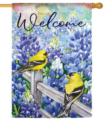 Bluebonnets and Finches Suede Reflections House Flag