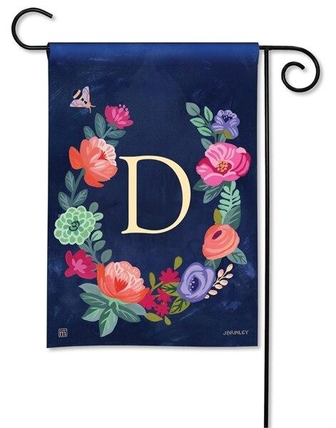 Boho Flowers Monogram D Garden Flag