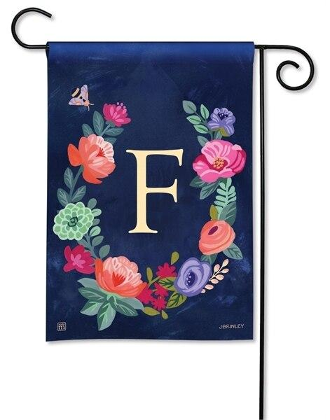 Boho Flowers Monogram F Garden Flag