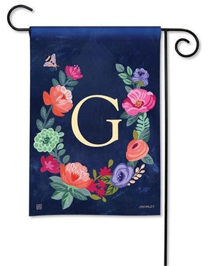 Boho Flowers Monogram G Garden Flag