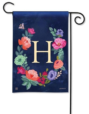 Boho Flowers Monogram H Garden Flag
