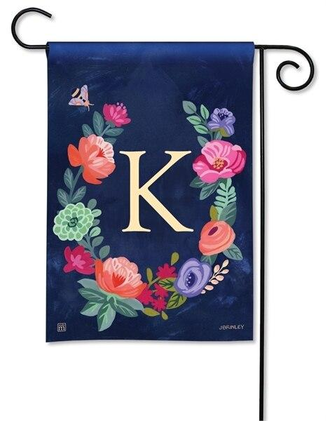 Boho Flowers Monogram K Garden Flag