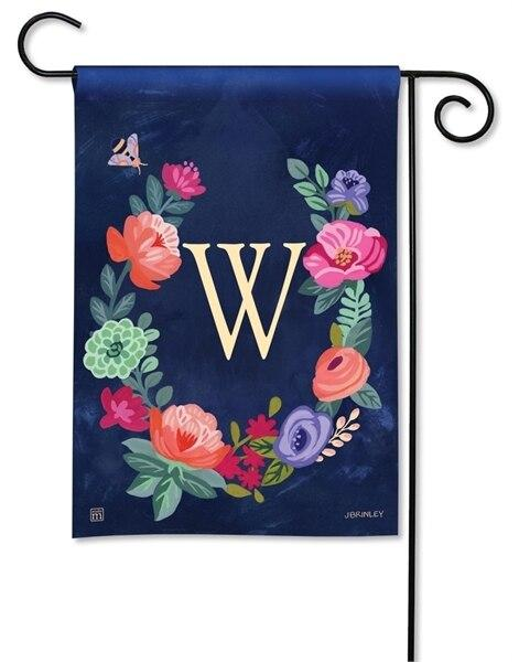 Boho Flowers Monogram W Garden Flag