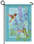 Botanical Larkspurs and Hummingbirds Garden Flag