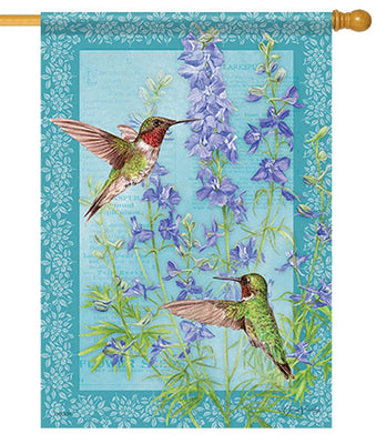 Botanical Larkspurs and Hummingbirds House Flag