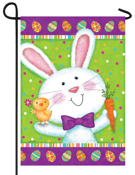 Bowtie Bunny and Chick Garden Flag