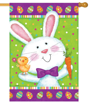 Bowtie Bunny and Chick House Flag