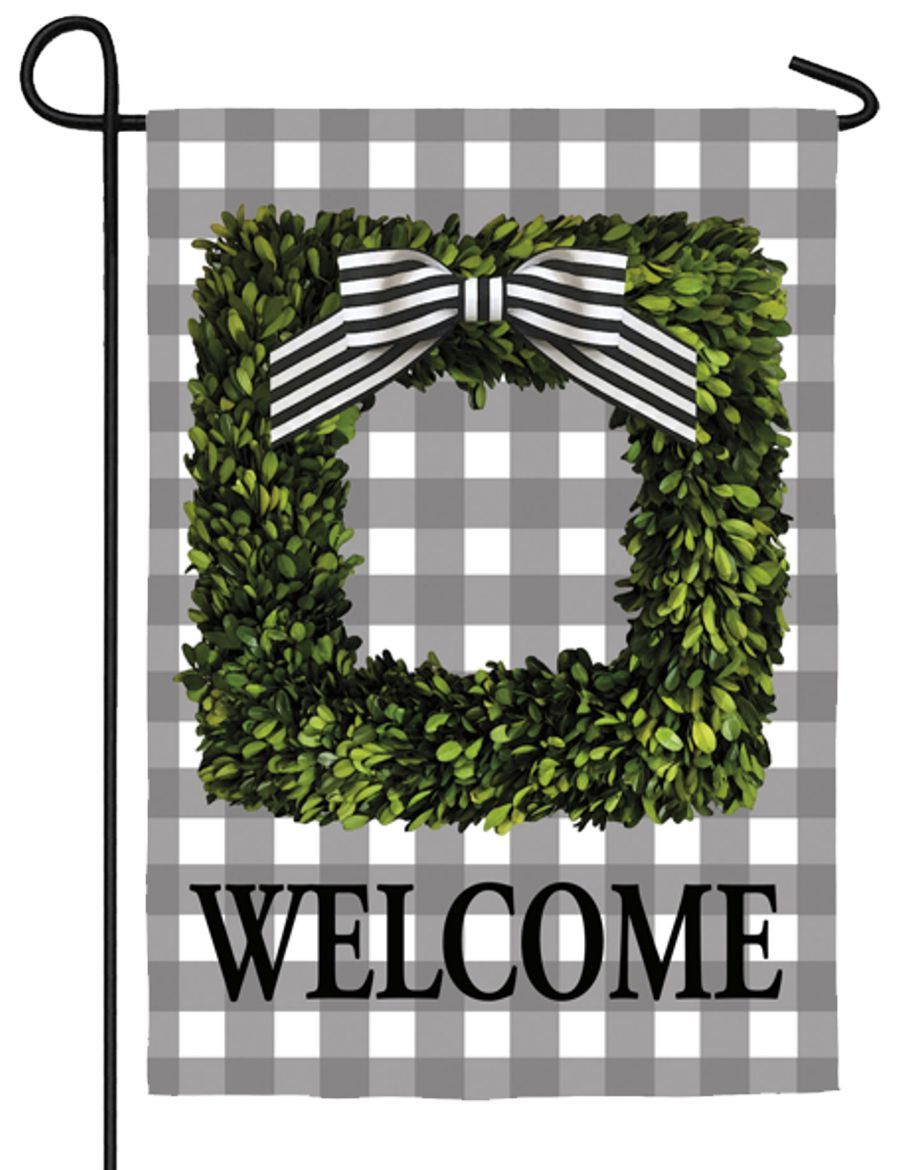 Boxwood Plaid Suede Reflections Garden Flag