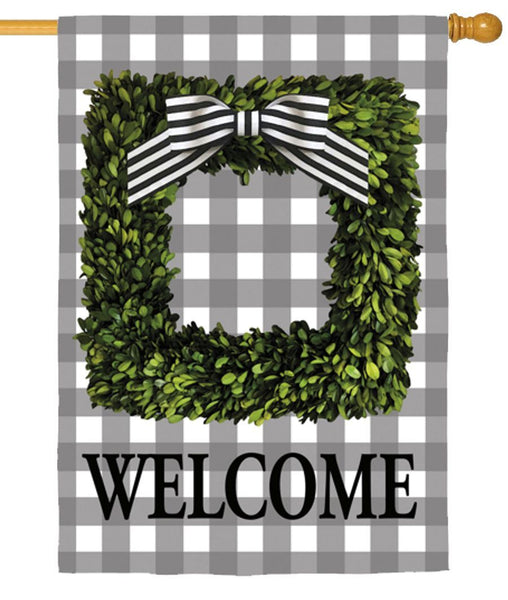 Boxwood Plaid Suede Reflections House Flag