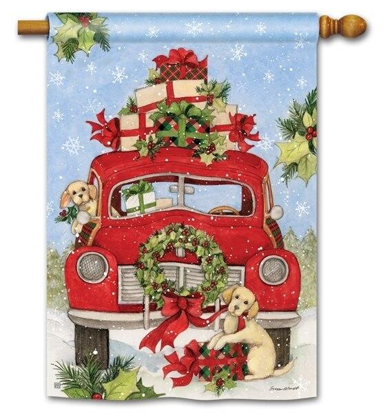 Bringing Home the Puppies Red Truck House Flag - All Decorative Flags/Holidays/Christmas Flags - I AmEricas Flags