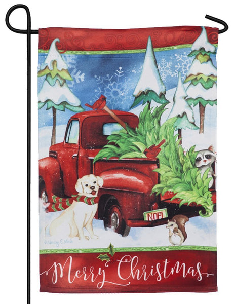 Bringing Home the Tree Red Truck Suede Reflections Garden Flag
