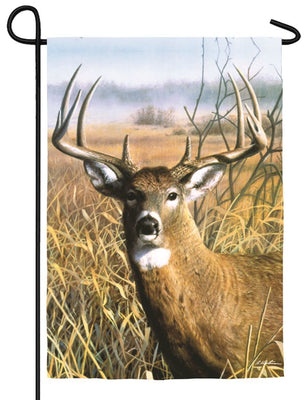 Buck in the Field Suede Reflections Garden Flag