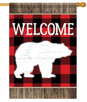 Buffalo Plaid Bear House Flag