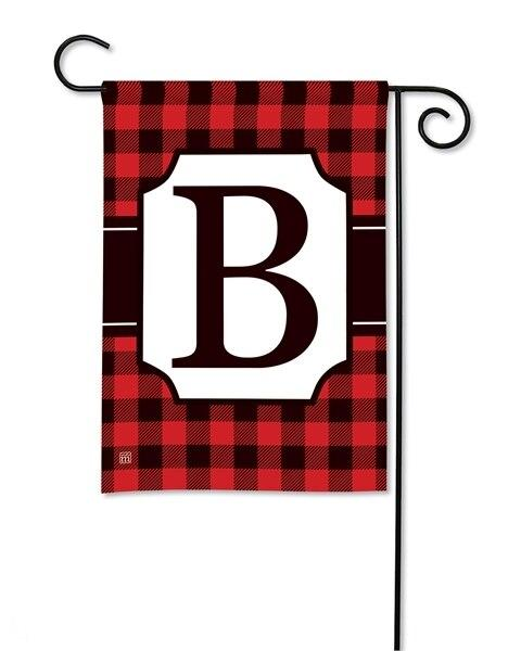 Buffalo Plaid Monogram B Garden Flag