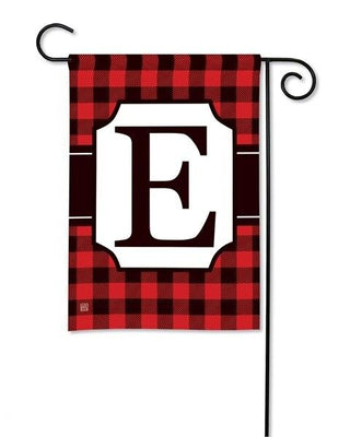 Buffalo Plaid Monogram E Garden Flag