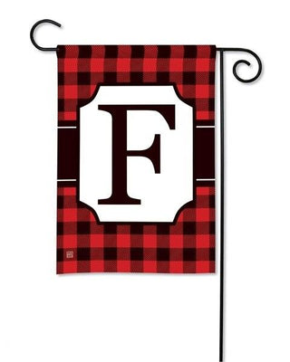 Buffalo Plaid Monogram F Garden Flag