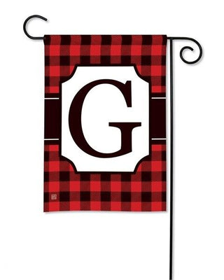 Buffalo Plaid Monogram G Garden Flag