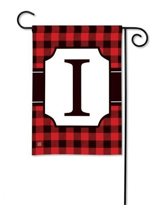Buffalo Plaid Monogram I Garden Flag