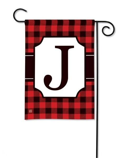 Buffalo Plaid Monogram J Garden Flag