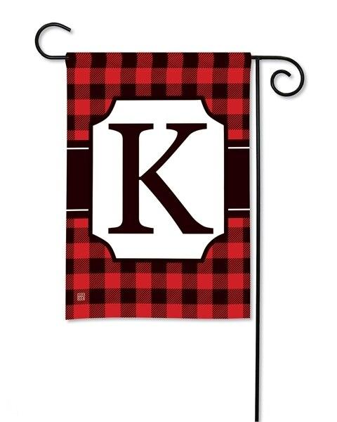 Buffalo Plaid Monogram K Garden Flag