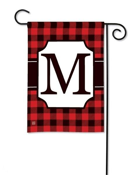 Buffalo Plaid Monogram M Garden Flag