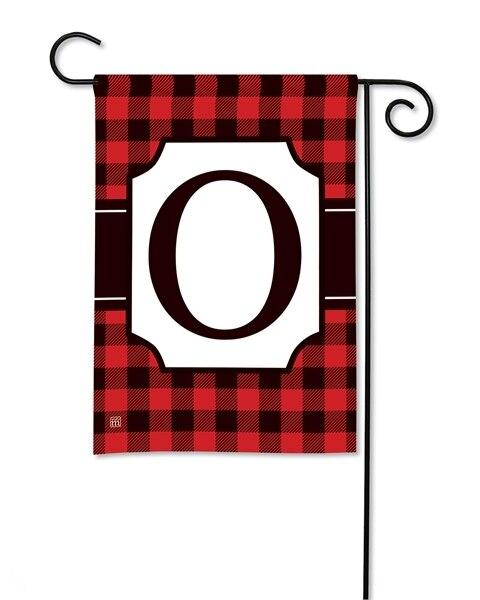 Buffalo Plaid Monogram O Garden Flag