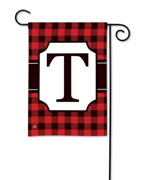 Buffalo Plaid Monogram T Garden Flag