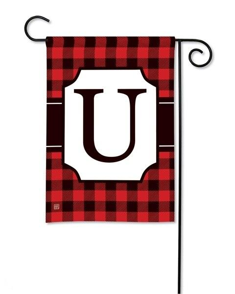 Buffalo Plaid Monogram U Garden Flag