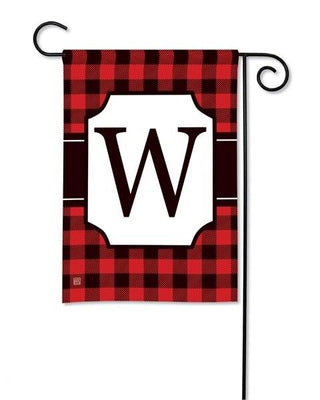 Buffalo Plaid Monogram W Garden Flag