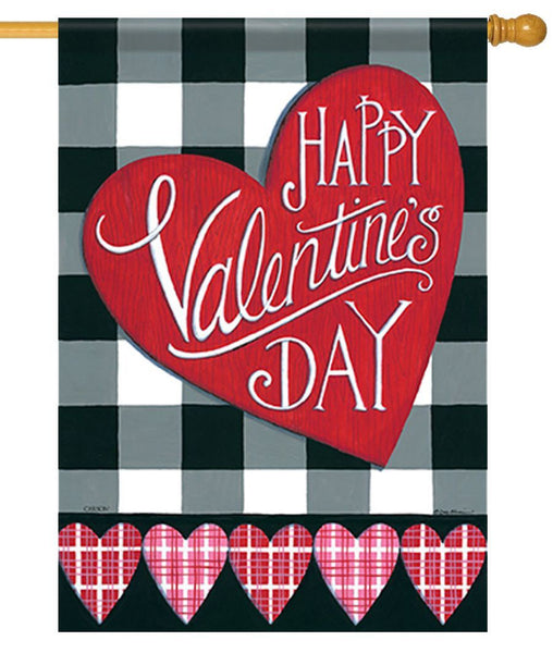 Buffalo Plaid Valentine's Day House Flag