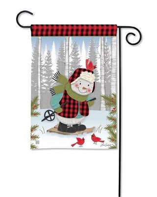 Buffalo Plaid Winter Snowman Garden Flag