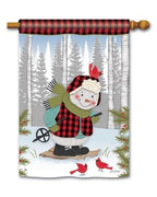 Buffalo Plaid Winter Snowman House Flag