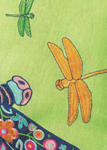 Burlap Floral Dragonfly Decorative Garden Flag Detail 2