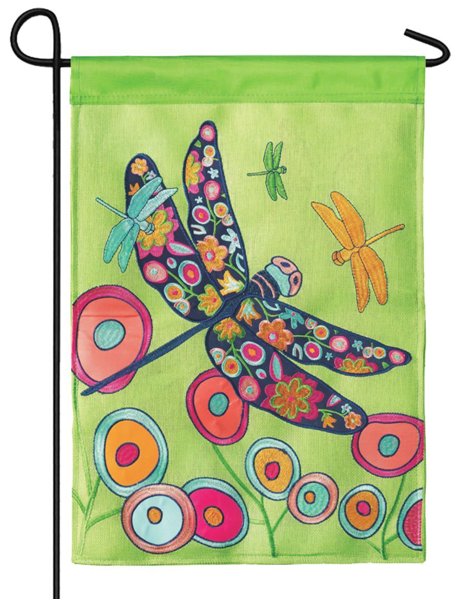 Burlap Floral Dragonfly Decorative Garden Flag