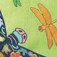 Burlap Floral Dragonfly Decorative House Flag Detail 2