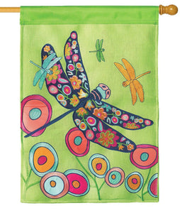 Burlap Floral Dragonfly Decorative House Flag - I AmEricas Flags