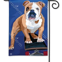 Bulldog on a Skateboard Garden Flag